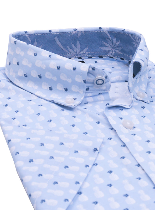 Light Blue Pineapple Print Short Sleeve Shirt