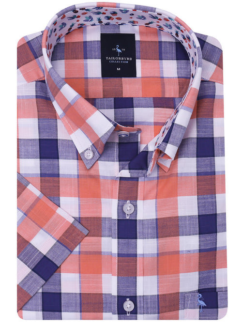 Orange and Navy Big Check Short Sleeve Shirt