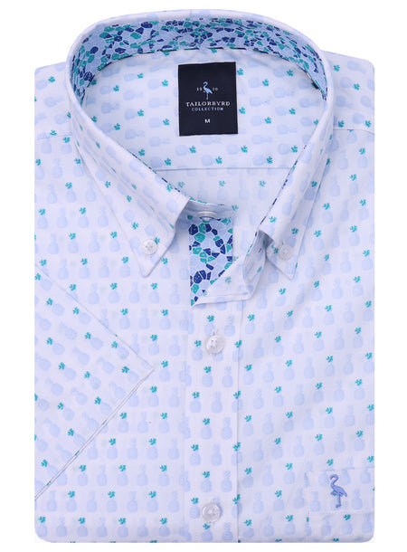 Light Green Print Short Sleeve Button-Down Shirt