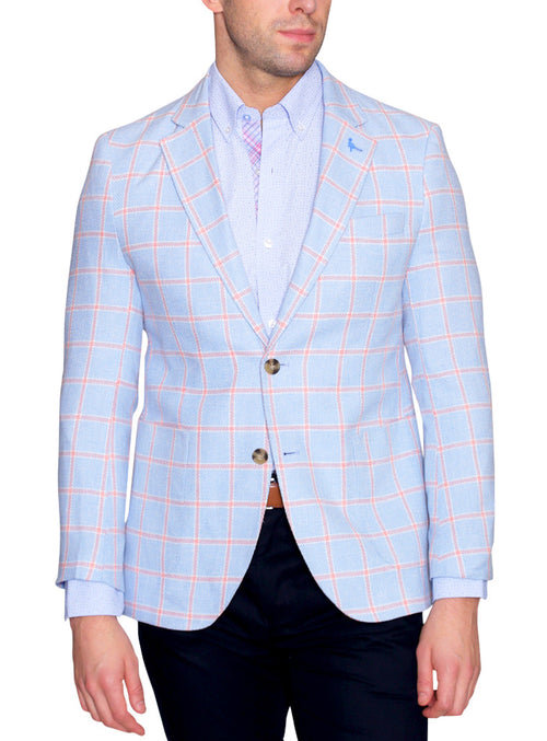 Blue Linen Textured Windowpane Sport Coat