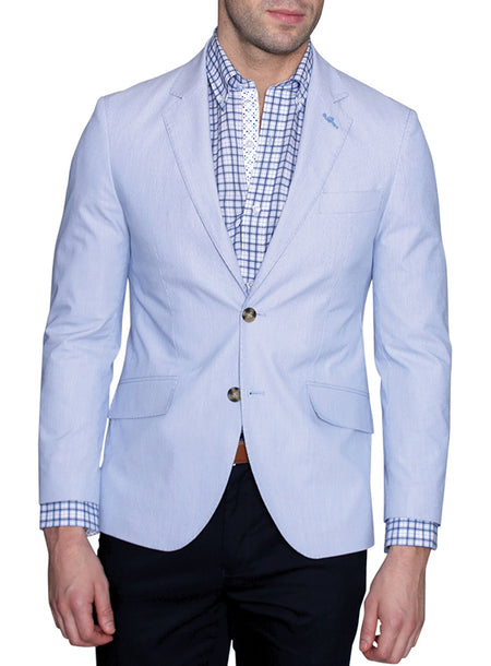 Linen Cotton Navy Plaid Sport Coat