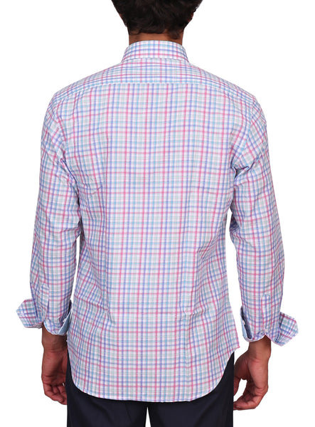 Aqua Multi Plaid Long Sleeve Shirt
