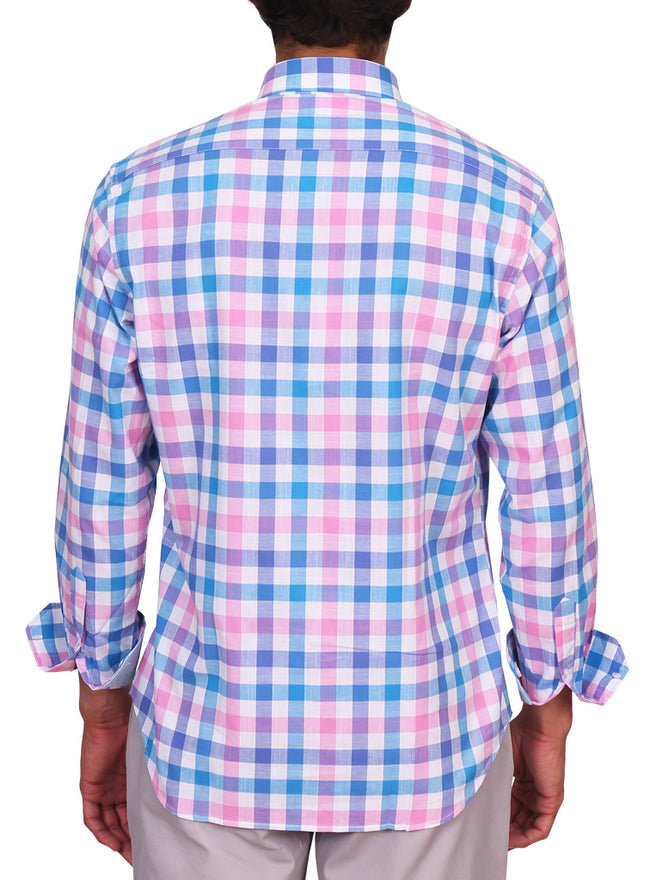 Pink and Blue Gingham Long Sleeve Shirt