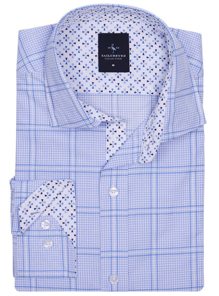 Light Blue Windowpane Plaid Long Sleeve Shirt