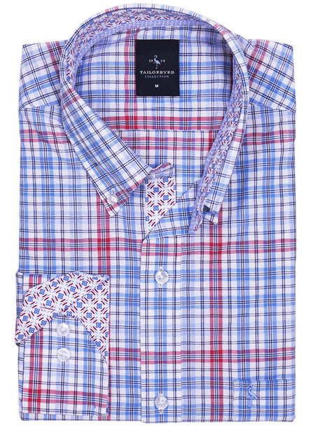 White Windowpane Button-Down Shirt