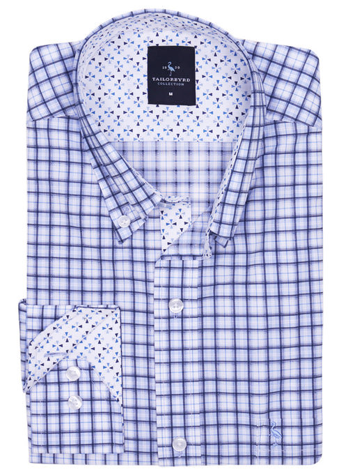 Blue Grid Plaid Button-Down Shirt