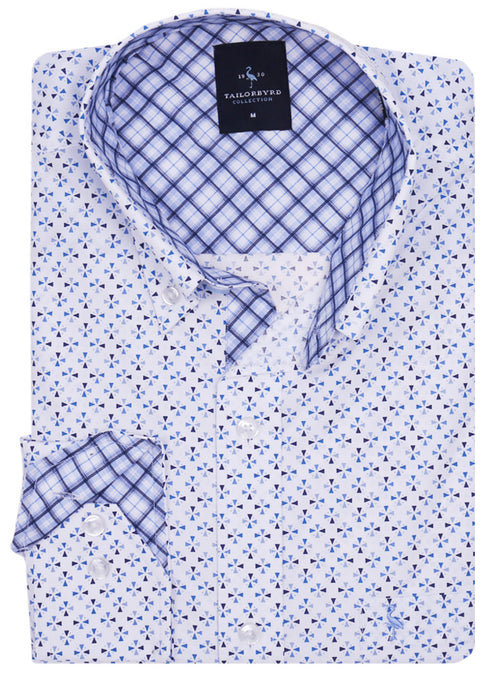 White Geometric Patterned Button-Down Shirt