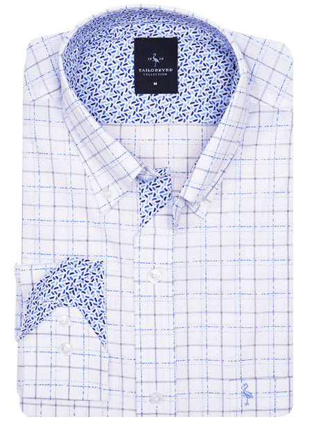 White with Blue Lined Pattern Button-Down Shirt