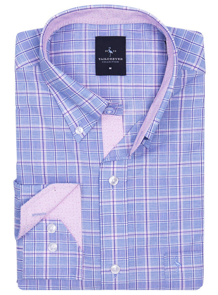 Light Blue and Pink Plaid Button-Down Shirt