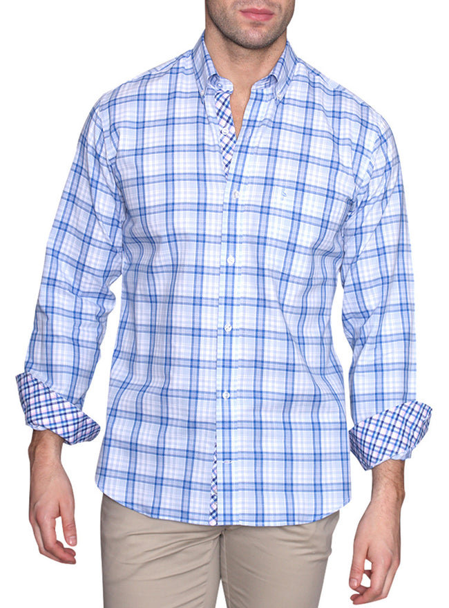 Blue Windowpane Plaid Long Sleeve Shirt
