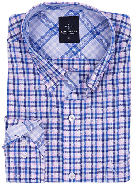 Blue and Pink Plaid Button-Down Shirt