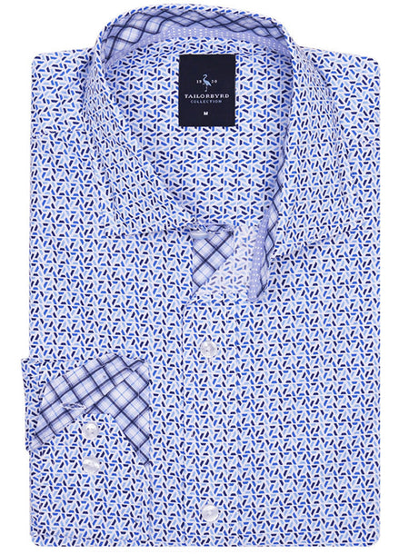 Royal Geometric Floral Button-Down Shirt