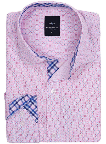 Pink Classic Patterned Button-Down Shirt