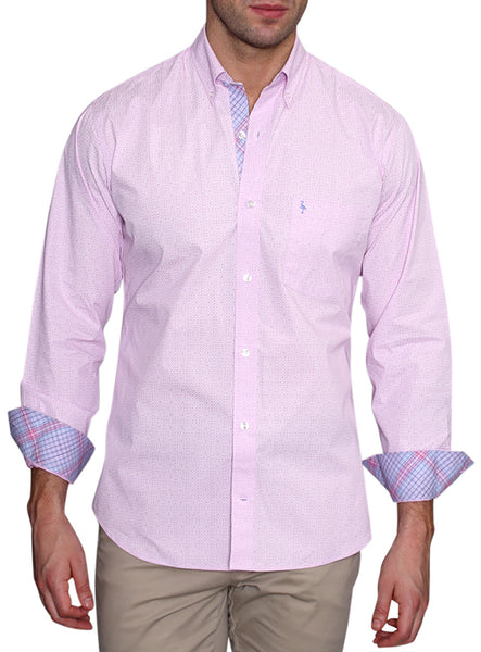 Pink Solid Patterned Shirt
