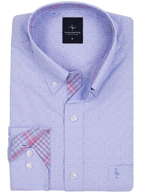 Blue Solid Patterned Button-Down Shirt