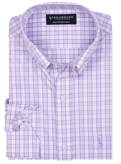 Lilac Plaid Plaid Stretch Performance Shirt