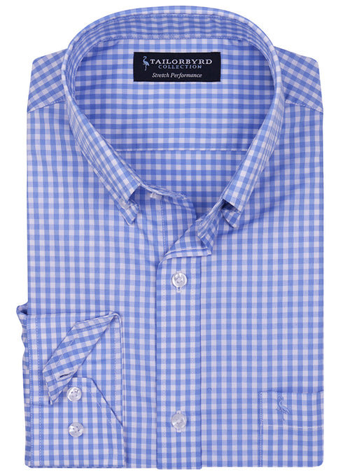 White and Blue Gingham Check Stretch Performance Shirt
