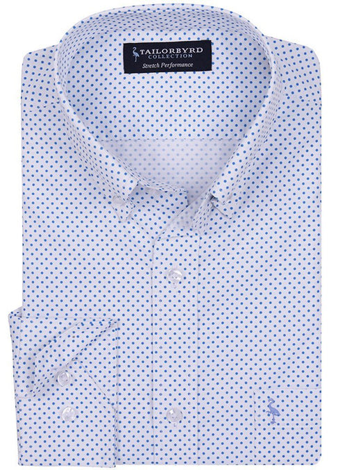 Blue Polka Dot Printed Stretch Performance Shirt