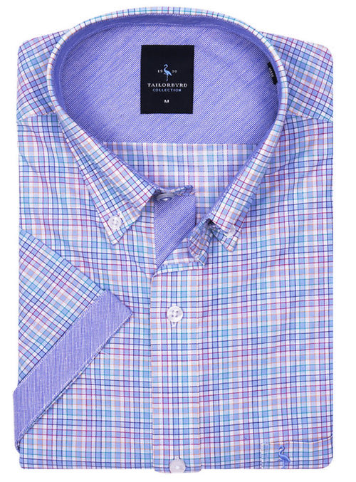 Multi Check Short Sleeve Button-Down Shirt