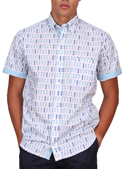 Aqua Pineapple Print Short Sleeve Shirt