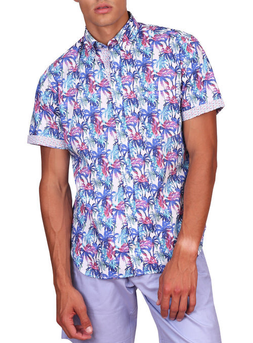 Pink Multi Palm Tree Print Short Sleeve Shirt
