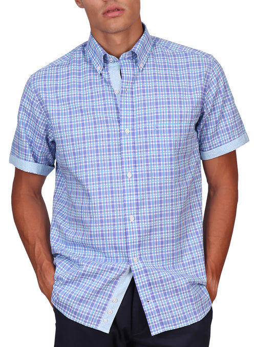 Aqua and Purple Short Sleeve Shirt