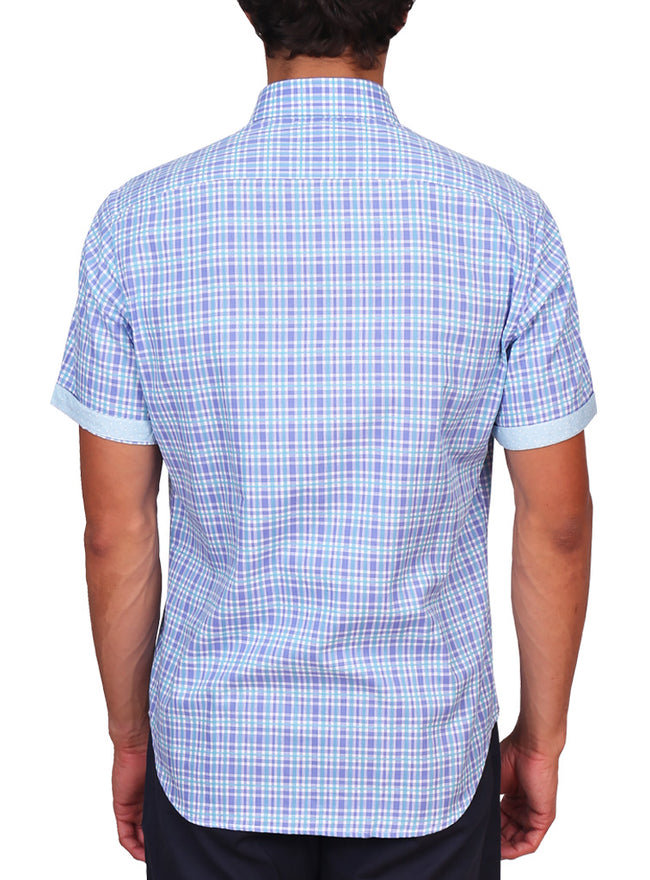 Aqua and Purple Plaid Short Sleeve Shirt