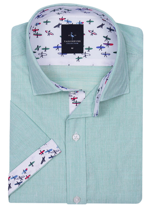 Green Solid Short Sleeve Shirt