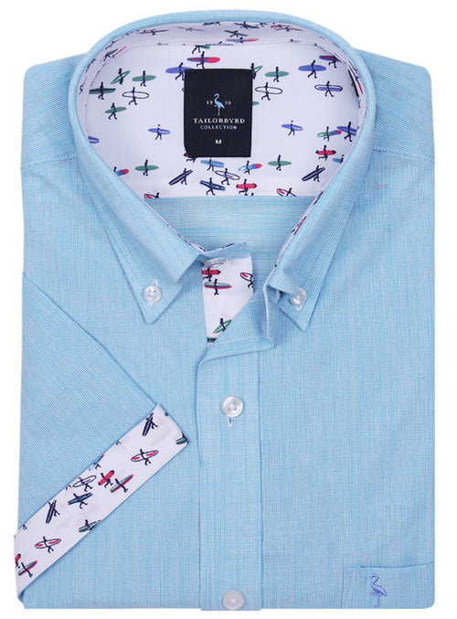 Aqua Solid Short Sleeve Shirt