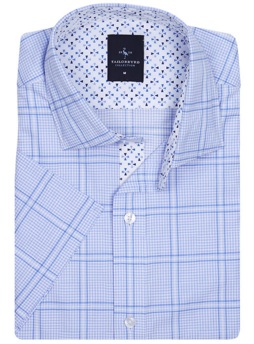 Light Blue Windowpane Short Sleeve Shirt