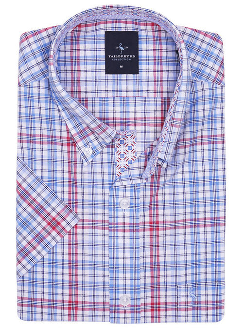 Blue and Red Plaid Short Sleeve Shirt