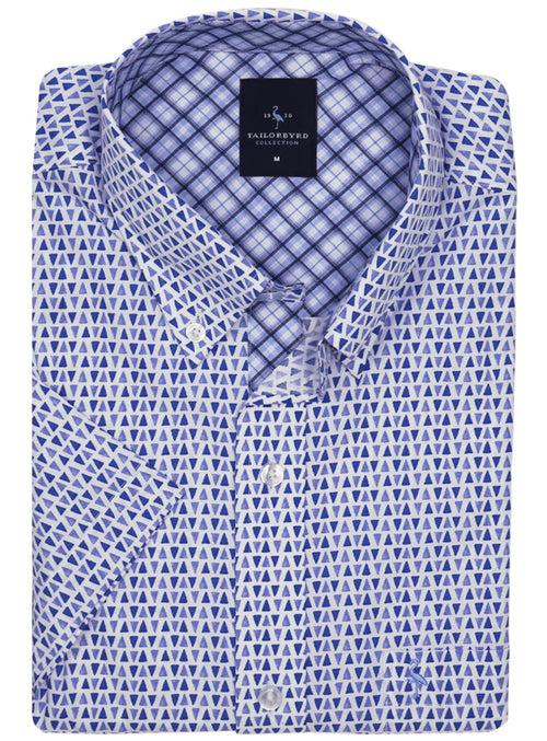 Blue Triangle Print Short Sleeve Shirt