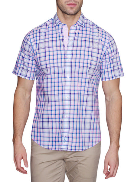 White and Blue Plaid Short Sleeve Button-Down Shirt