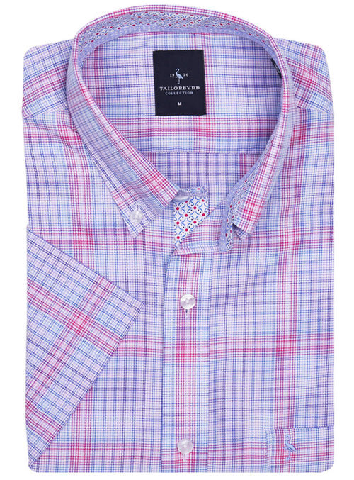 Pink Multi Plaid Short Sleeve Shirt