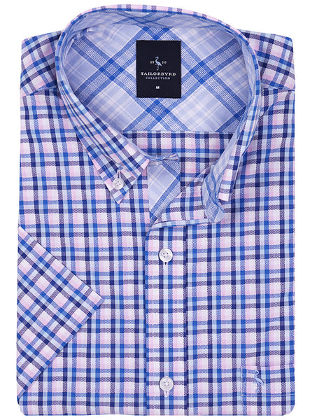 Blue and Pink Plaid Short Sleeve Button-Down Shirt