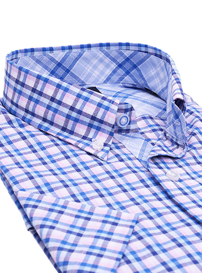Blue and Pink Plaid Short Sleeve Shirt