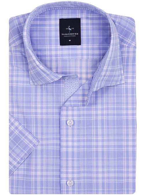 Light Blue Plaid Short Sleeve Shirt