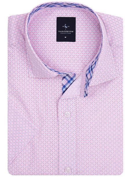 Pink Solid Patterned Button-Down Shirt