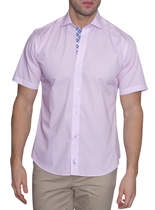 Pink Classic Patterned Short Sleeve Shirt