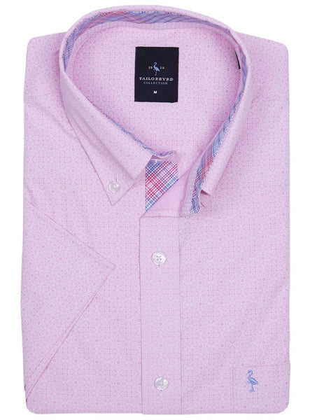 Pink Solid Patterned Short Sleeve Shirt