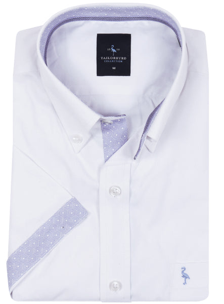 Solid White with Blue Geo Contrast Short Sleeve Shirt