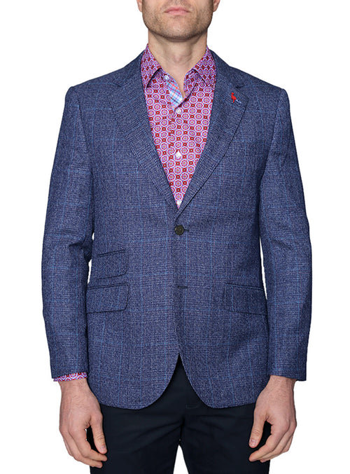 Navy Stitched Plaid Sport Coat