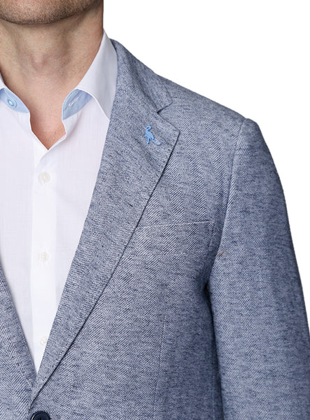 Knit Blue Herringbone Unlined Sport Coat
