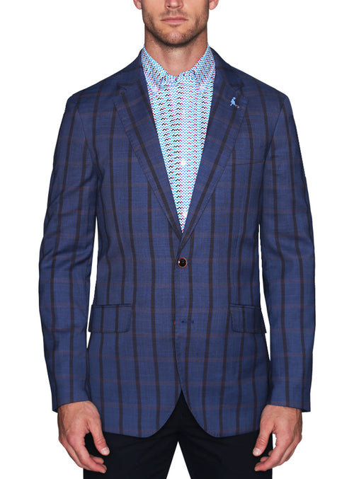 Stretch Blue Windowpane Plaid Sport Coat
