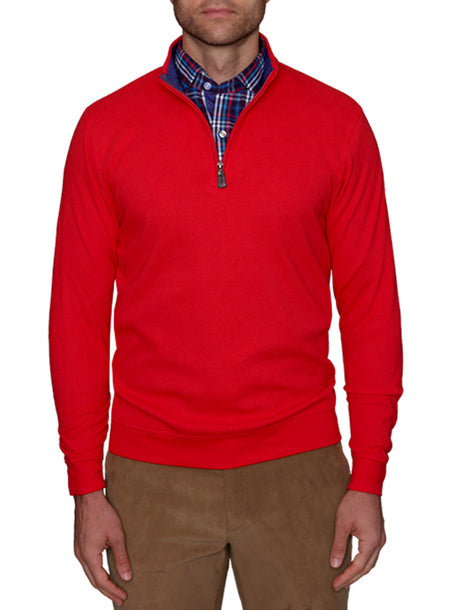 Red Quarterzip Wool Sweater