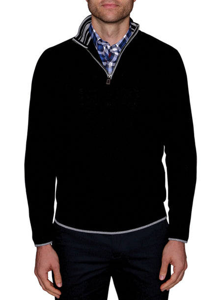Black Quarterzip Cotton Sweater