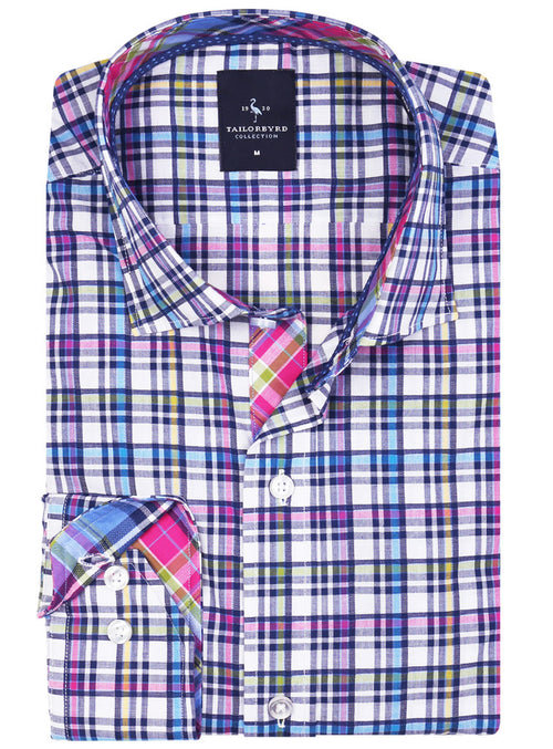Multi Navy Plaid Long Sleeve Shirt