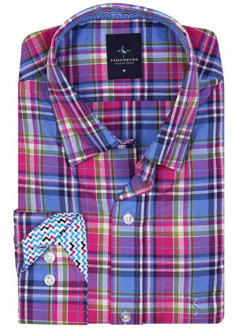 Berry Blue Plaid Long Sleeve Shirt