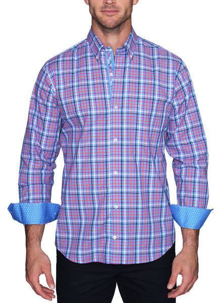 Blue Grid Plaid Long Sleeve Shirt