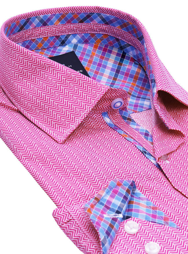 Fuchsia Zigzag Pattern Button-Down Shirt